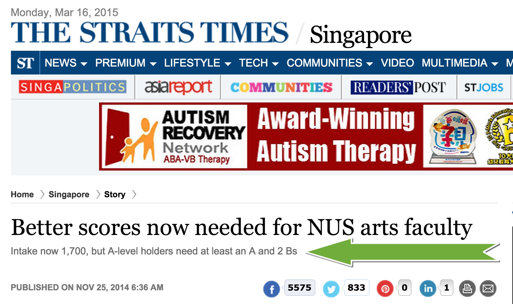 Better scores now needed for NUS arts faculty