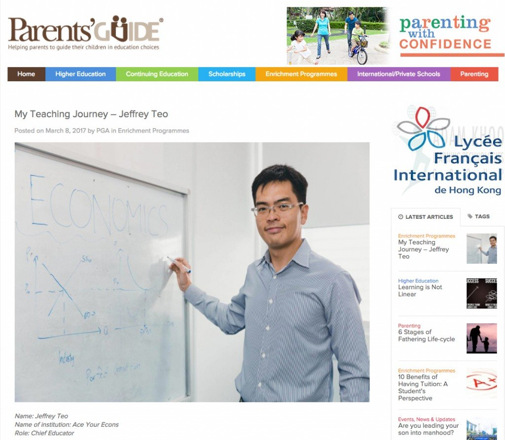 H2 Economics Tutor featured in PAG